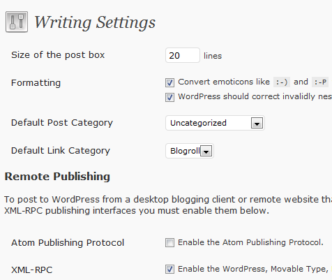 WP writing settings