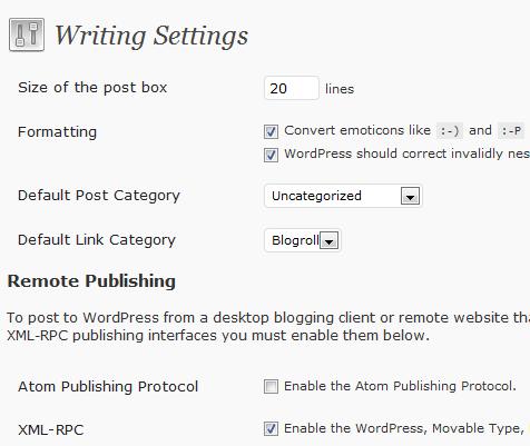 WP writing settings