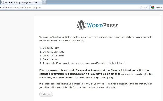Wordpress setup info