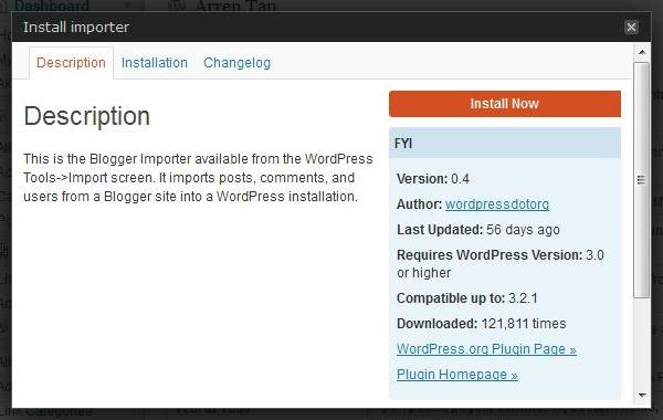 Blogger Importer plugins