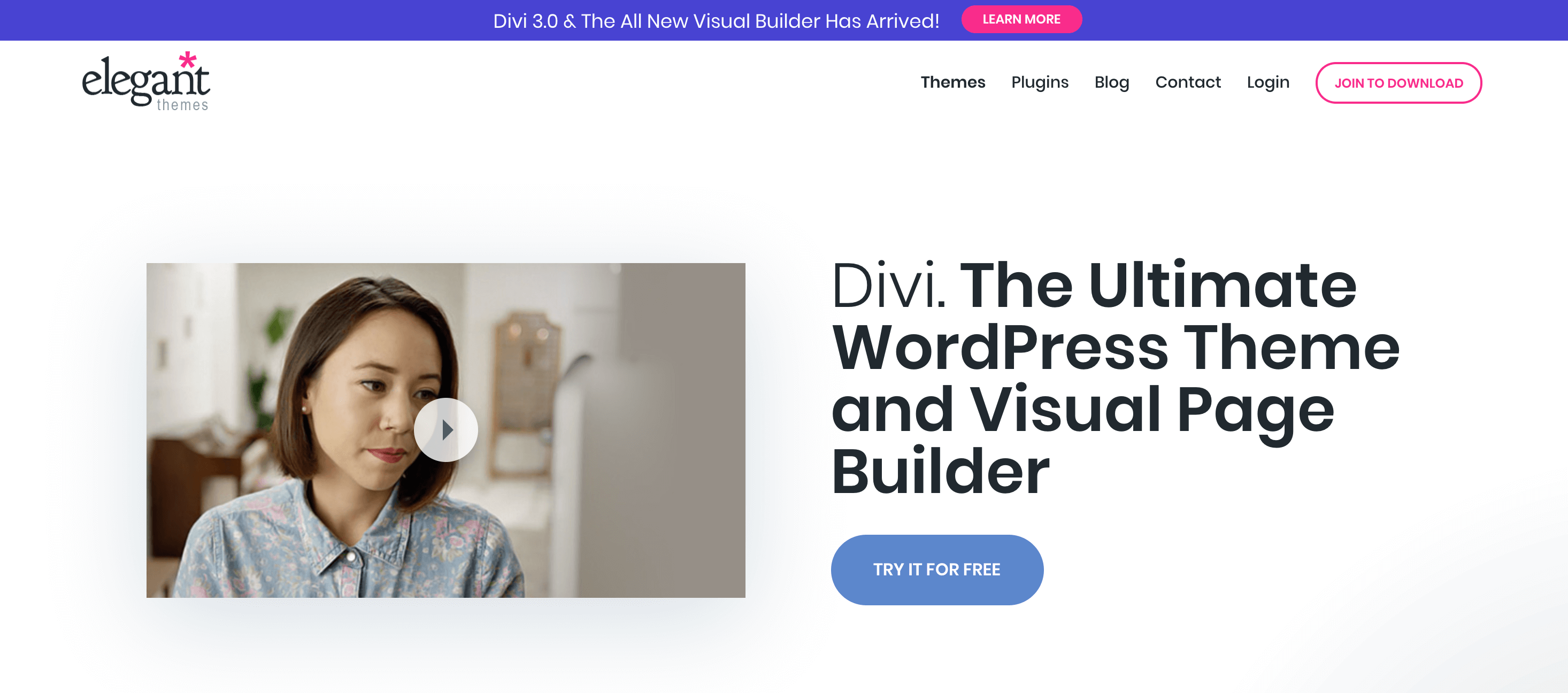 The website for the Divi builder.