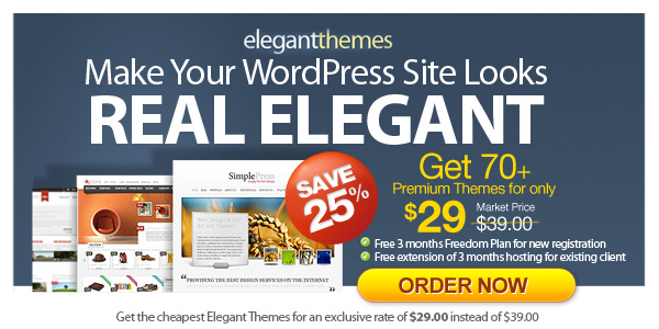 eleganttheme promo by wordpress hosting