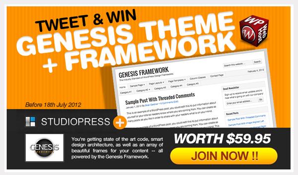 Tweet and Win Studiopress Genesis Theme + Genesis Framework: Winner Announced