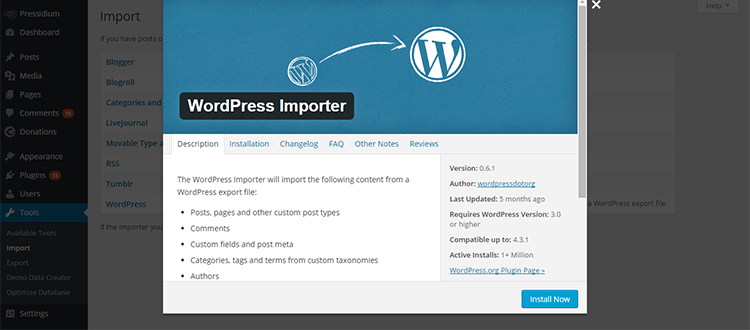 WordPress Importer Tool